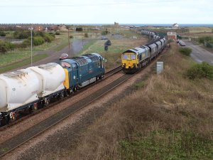 55022 works the Alcan tanks on the Blyth & Tyne, on Monday 11th April - photo Phil William