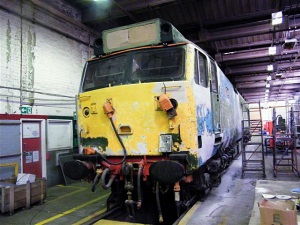 D444 being prepared for repainting at Cardiff Canton - Photo Mike Matthews