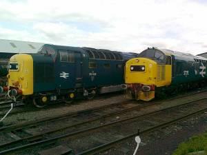 Scottish stalwarts 55022 & 37175 line up at Bo'ness on Thursday 19th May - photo Matt Stoddon